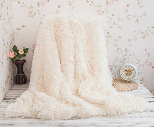 Soffte Cloud Super Soft Long Shaggy Warm Plush Fannel Blanket Throw Qulit Cozy Couch Blanket for Winter Cream(51