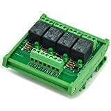 ELECTRONICS-SALON DIN Rail Mount 4 SPDT Power Relay Interface Module, 10A Relay, 12V Coil.