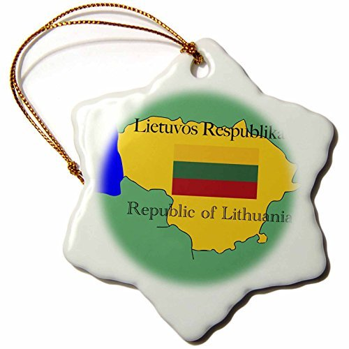 39214_1 Map and Flag of Lithuania with Republic of Lithuania Printed in English and Lithuanian Snowflake Decorative Hanging Ornament, Porcelain, 3-Inch ()