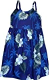 Pacific Legend Girls White Hibiscus Monstera Toddler Bungee Dress Navy Blue 3-4 for 2yrs old