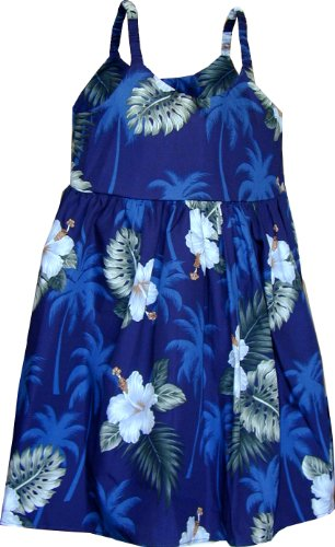 Pacific Legend Girls White Hibiscus Monstera Toddler Bungee Dress Navy Blue 3-4 for 2yrs old by Pacific Legend