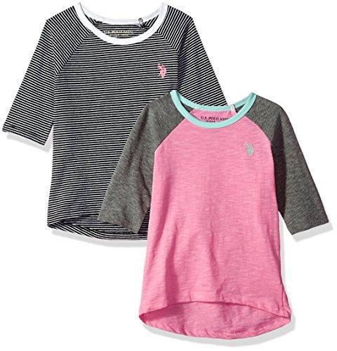 U.S. Polo Assn. Big Girls' 2 Pack Long Sleeve T-Shirt, 3/4 Sleeve-Multi-3514, 10/12 (T-shirt Long Sleeve Kids 2)