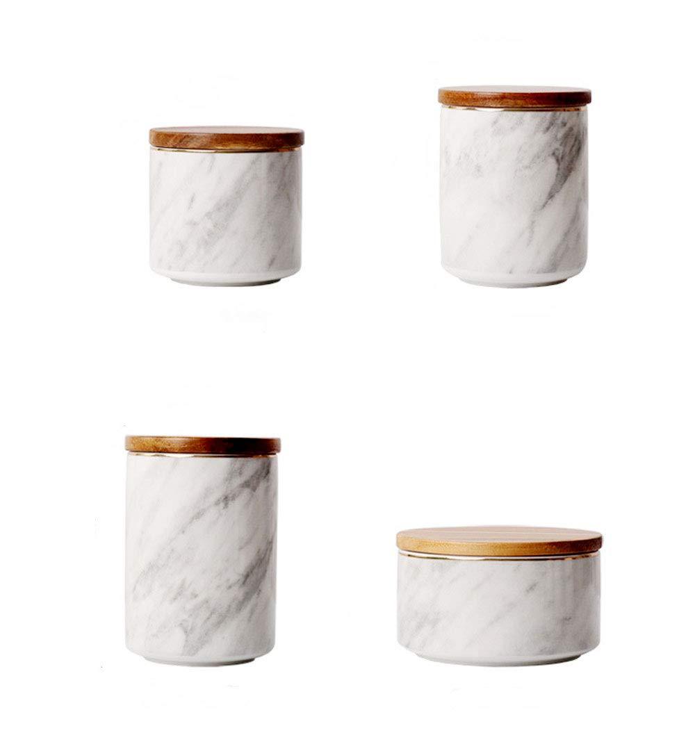 KLYJ Botes de cer/ámica n/órdica caramelo 4 unidades. tarro de almacenamiento para el hogar t/é az/úcar con tapa caf/é de m/ármol