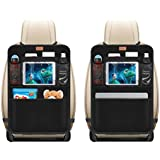 "AEMIAO 2 Pack Kick Mats Car Organisers Waterproof Seat Back Protectors with 10.1"" iPad / Tablet Holder - Multipurpose Auto Seat Back Cover - Universal Fit for Car, Truck, SUV,or Van Seats"
