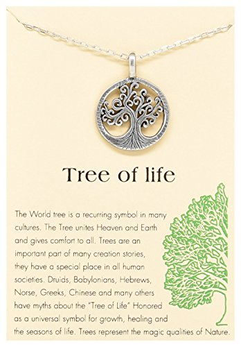 """Celtic Tree of Life Round Pendant Necklace Silver Tone with Inspirational Quote Card 120, 16""""-18"""""""