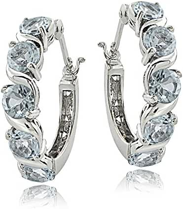 Sterling Silver Aquamarine S Design Hoop Earrings
