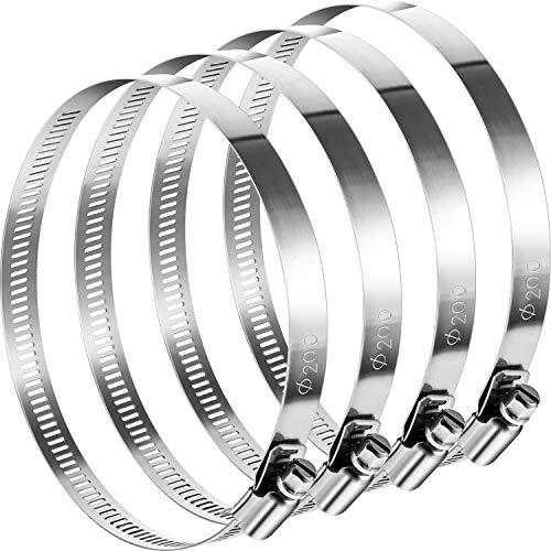 Boao 4 Pieces Adjustable 304 Stainless Steel Duct Clamps Hose Clamp (8 Inch)