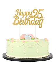 LXZS-BH Gold Glitter Happy Birthday Cake Topper,Party Cake Decoration Supplies (25th)