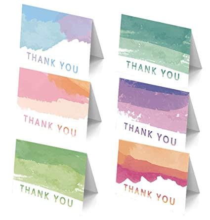 Amazon 48 assorted blank rainbow thank you cards with 48 assorted blank rainbow thank you cards with envelopes ombre watercolor greeting cards bulk pack m4hsunfo