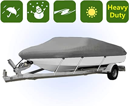 16-18Ft 600D Oxford Waterproof Trailerable Fish Ski Boat Cover V-Hull Beam