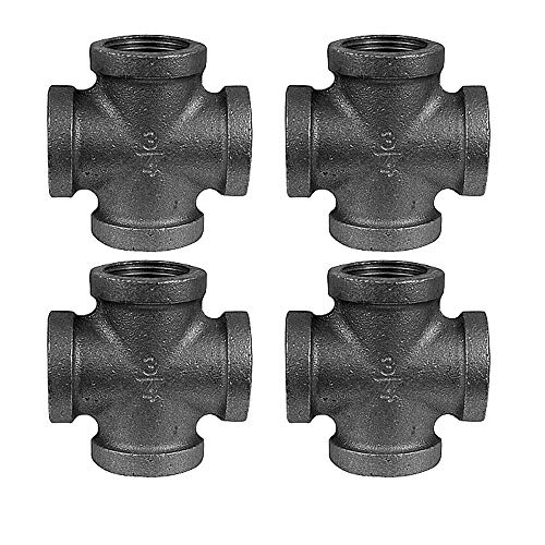IBEUTES 4pcs Black Malleable Iron Cast Pipe Fitting 3/4 Inch Cross 4 Way Pipe Fitting, 3/4 Inch- Threaded Pipe Nipples For DIY Decor Or Industrial Vintage Style