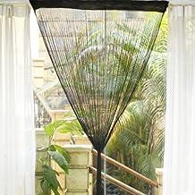 Fringe Tassel Window Door Divider Curtain Hanging String - Black