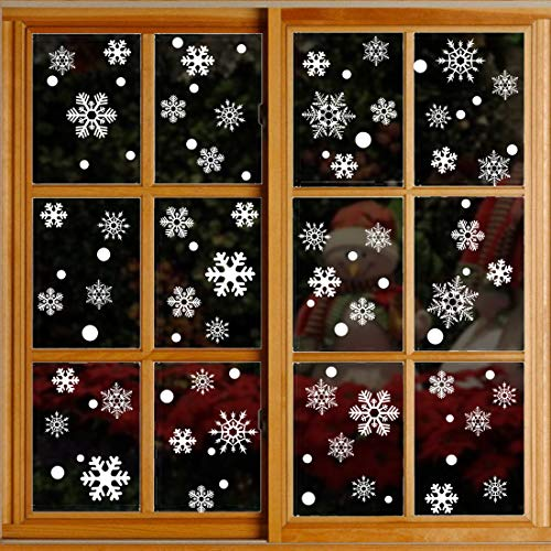 OASMU 360PCS Christmas Snowflakes Window Clings Stickers Decals Winter Wonderland Xmas decorationsDecorations Ornaments Party Supplies