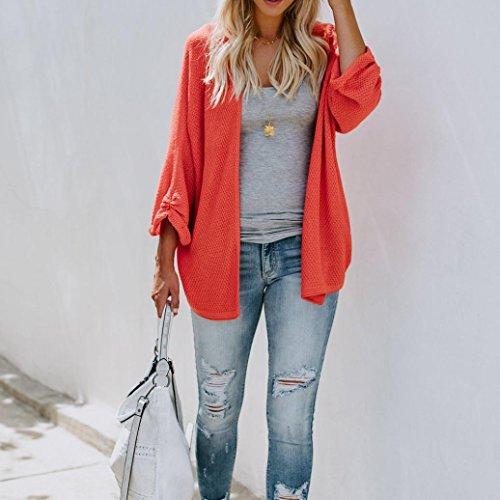 Breve Giacca Casual Corto Outwear Cardigan Donna Maglia Perdere Cappotto Elegante Manica Italily Top Spiaggia Tops A Arancia Peso Lunga gaqZFO