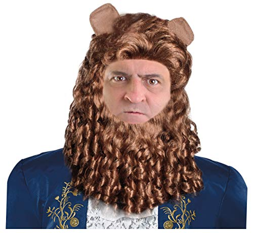 Beast Wig Costume Beast Costume Wig for Men Belle's Prince Wig Brown]()