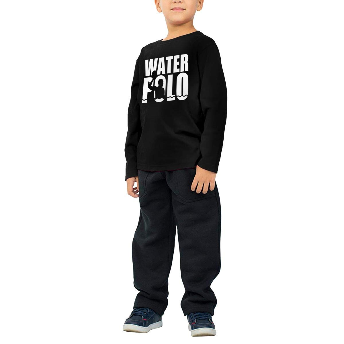 Toddler Water Polo Word with Silhouette-1 ComfortSoft Long Sleeve Shirt