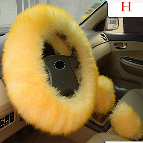 Car Steering Wheel Cover for Women, 3pcs Plush Car Steering Wheel Covers Winter Faux Wool Hand Brake & Gear Cover Set Car Seat Cover Interior Accessories-38cm