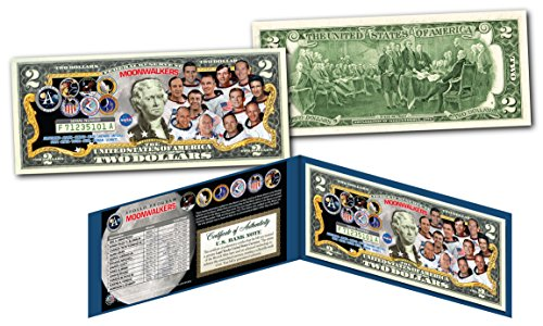 MOONWALKERS 12 Astronauts To Ever Walk On Moon Apollo NASA Official U.S. $2 Bill (The Three Astronauts That Landed On The Moon)