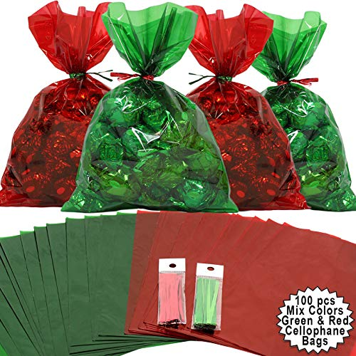 Cellophane Treat Bags 100 pcs Mix Holiday Colors (6 Inch x 9 Inch) | Colorful Cello Bags Christmas Colors with Twist Ties | 2.5 Mil Quality Green & Red Cellophane Treat Bags | Transparent 6×9 in Bags