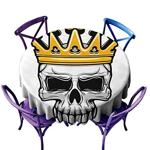 (Round Solid Polyester Tablecloth,King Queen Size,Hand Drawn Crowned Skull Cranium with Coronet Tiara Halloween Themed Image,For Banquet Decoration Dining Table Cover,70 INCH Golden and Light Grey)