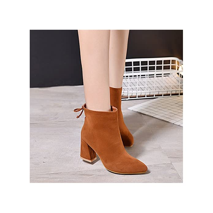 Agecc Womens Ladies Winter Leather Heel Martin Stivali Autunno Inverno Da Donna Trentasette Camel velluto Good Luck For You