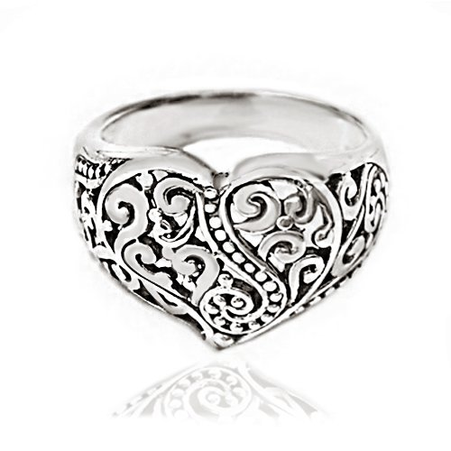 Chuvora 925 Oxidized Sterling Silver Detailed Filigree Heart Ring - Nickle Free Size 6 ()