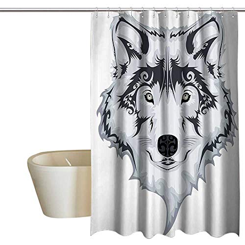 (Suchashome Tattoo Decor Mold Resistant Fabric Shower Curtain Astonishing Big Cat Famous Symbol of The Courage Leopard Head with Spots No Chemical Odor, Rust Proof Grommets 72