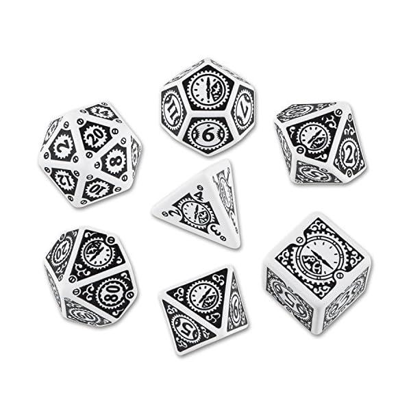 Q-Workshop Polyhedral Steampunk Clockwork Poly Set White w/Black 7-Die Set by Q Workshop 3