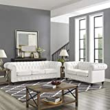 Naomi Home Emery Chesterfield Love Seat & Sofa White