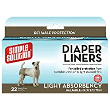 Simple Solution Disposable Dog Diaper Liners, Light Absorbency, 22 CT
