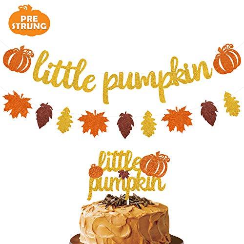Joymee Little Pumpkin Cake Topper Pumpkin Banner with Pumpkin Fall Leaves Garland for Thanksgiving Fall Theme Baby Shower Kids Girl Boy Birthday Party Supplies Decorations