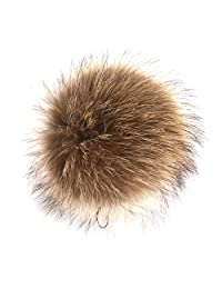 URSFUR Fox Pompon Fuzzies Fox Fur Ball Use for Mobile Strap Coppia Keychain 4inches (About 4 Inches, Raccoon Natural Color)