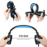 Gaming Headset for PS4 XBox One Over-Ear Gaming Headphones PC Gaming Headset Surround Sound Noise Reduction Game Headphones with Mic for PC iPhone SmartPhone Laptop iPad iPod (Black Blue)