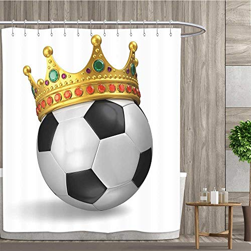 Anshesix King,Shower Curtains,Football Soccer Championship Inspired Ball Crown with Ornaments Image Print,Fabric Bathroom Decor Set with Hooks,Black White and Gold,Size:W60 x L72 inch
