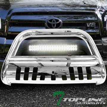 Matte Chrome Led - Topline Autopart Stainless Steel Chrome HD Bull Bar Brush Push Front Bumper Grill Grille Guard V2 With Skid Plate + 120W CREE LED Fog Light Lamp For 99-06 Toyota Tundra ; 01-07 Sequoia