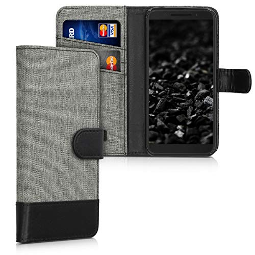 kwmobile Wallet Case for Alcatel 1S - Fabric and PU Leather Flip Cover with Card Slots and Stand - Grey/Black (And 1s Black Gray)