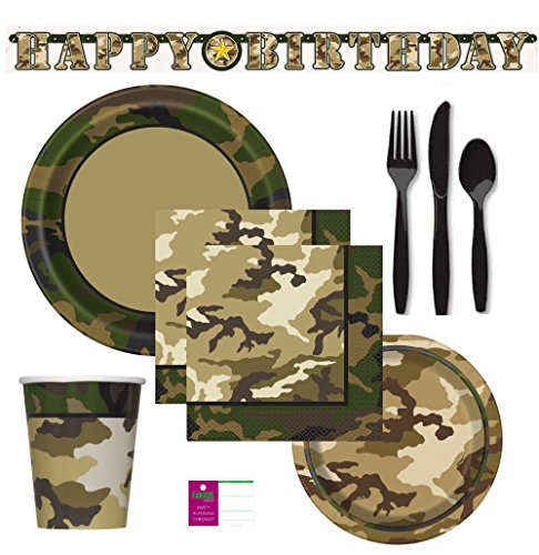 FAKKOS Military Camo Hunting Fishing Party Supplies For 16 Guests Includes: Large Plates, Small Plates, Napkins, Cups, Large Birthday Banner And 48 Piece Premium Plastic Cutlery Set