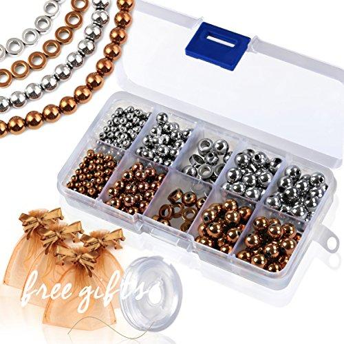 Natural Hematite Round Loose Stone Gemstone Beads Box 400 pcs Set for Jewelry Making (4mm, 6mm, 8mm) (301)