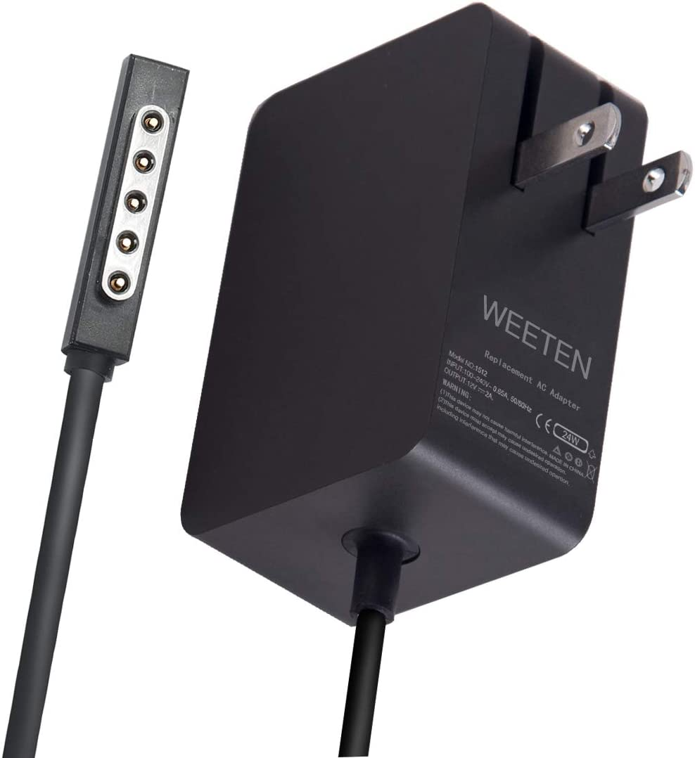WEETEN 24W 12V 2A Power Supply Wall Charger Compatible with Microsoft Surface Pro/Pro 2 and Surface RT Surface 2 Windows 8 Tablet Laptop AC Adapter Replacement Cord 1512