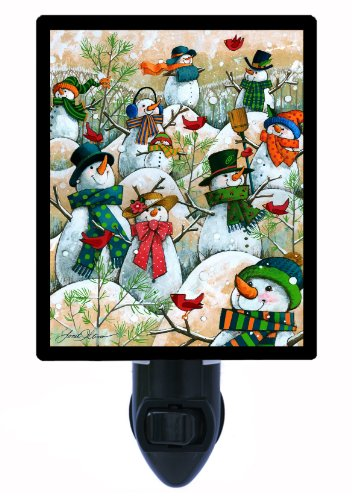 Christmas and Winter Snowman Night Light - A Hill of a Lot of Snowmen - Decorative Snowmen Lights