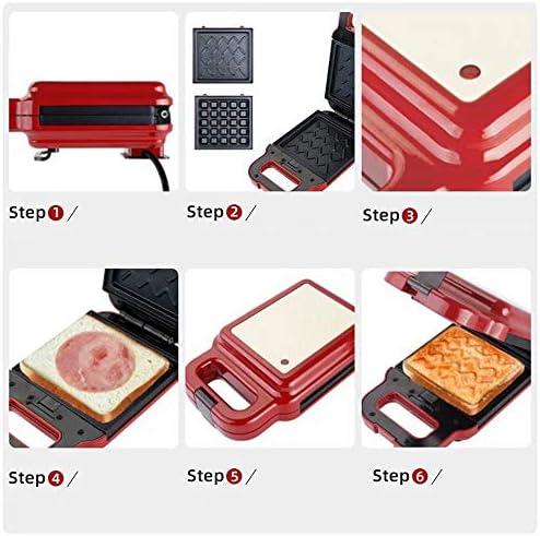 SJS Sandwich Grille-Pain, Fill Toastie Maker Profond, avec Easy Clean, contrôleur de température, plaques Amovibles, Indicateur, antiadhésifs pour la Famille,Rouge