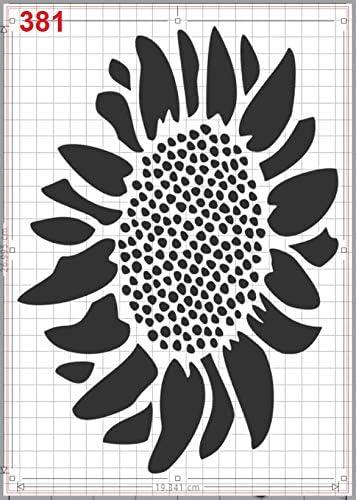 Big Sunflower Blossom Stencil Mylar A4 Sheet 190 Micron Strong Reusable Craft Art Wall Deco GiwuArt