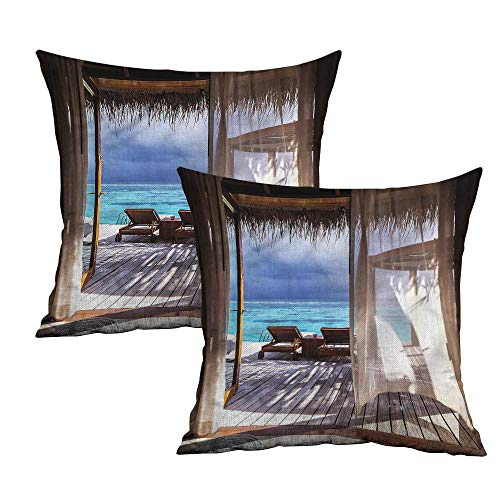 Khaki home Coastal Square Body Pillowcase Wooden Bungalow on Water Square Personalized Pillowcase Cushion Cases Pillowcases for Sofa Bedroom Car W 24