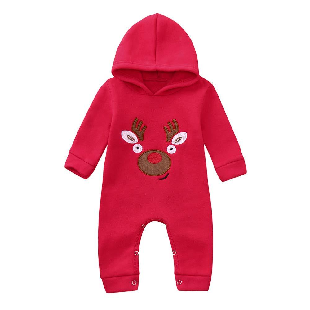 Jimmackey Neonato Unisex Natale Pagliaccetto, Bebè Manica Lunga Incappucciato Cervi Stampa Xmas Tutine Body