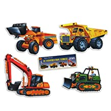 Beistle 55981 4-Pack Construction Vehicle Cutouts, 14-Inch-21-Inch