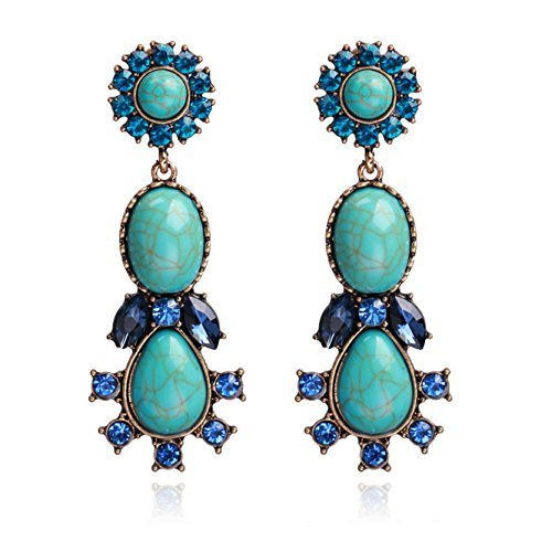 Tear Turquoise (Unicra Vintage Turquoise Crystal Stud Earrings Wedding Bridal Teardrop Long Dangle Earrings for Women and Girls)