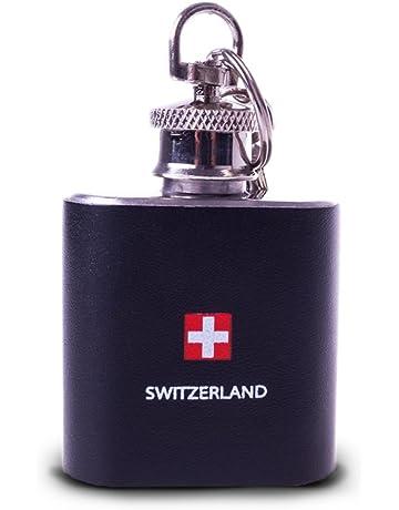 Top Spirit® Mini Petaca Switzerland con llavero de acero inoxidable con piel sintética envuelve 30
