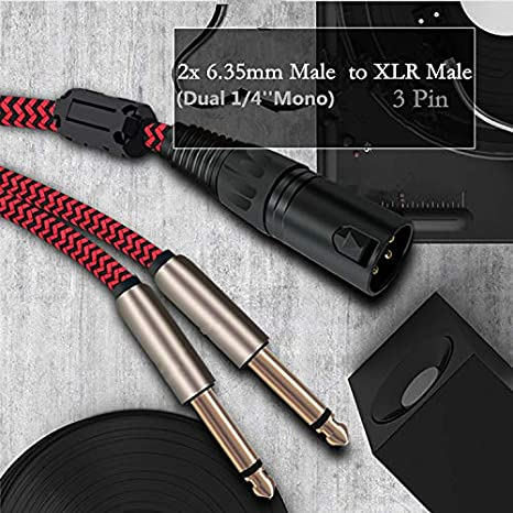 6ft - Dual 1//4 inch TS 2m 6.35mm 3-Pin to 6.35mm Converter Cords Male to XLR Male Adapter Nylon Braided Audio Cable Y Splitter Microphone Cables XLR