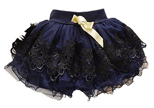 Baby Girls Kid Child Toddler Princess Floral Tutu Pettiskirt Mini Dress Short Skirt (4-5Years, Navy (Short Tutu Dress)