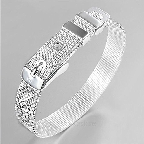 n 925 Sterling Silver Cool Punk Plated Bracelet Charm Watch Strap Style ()